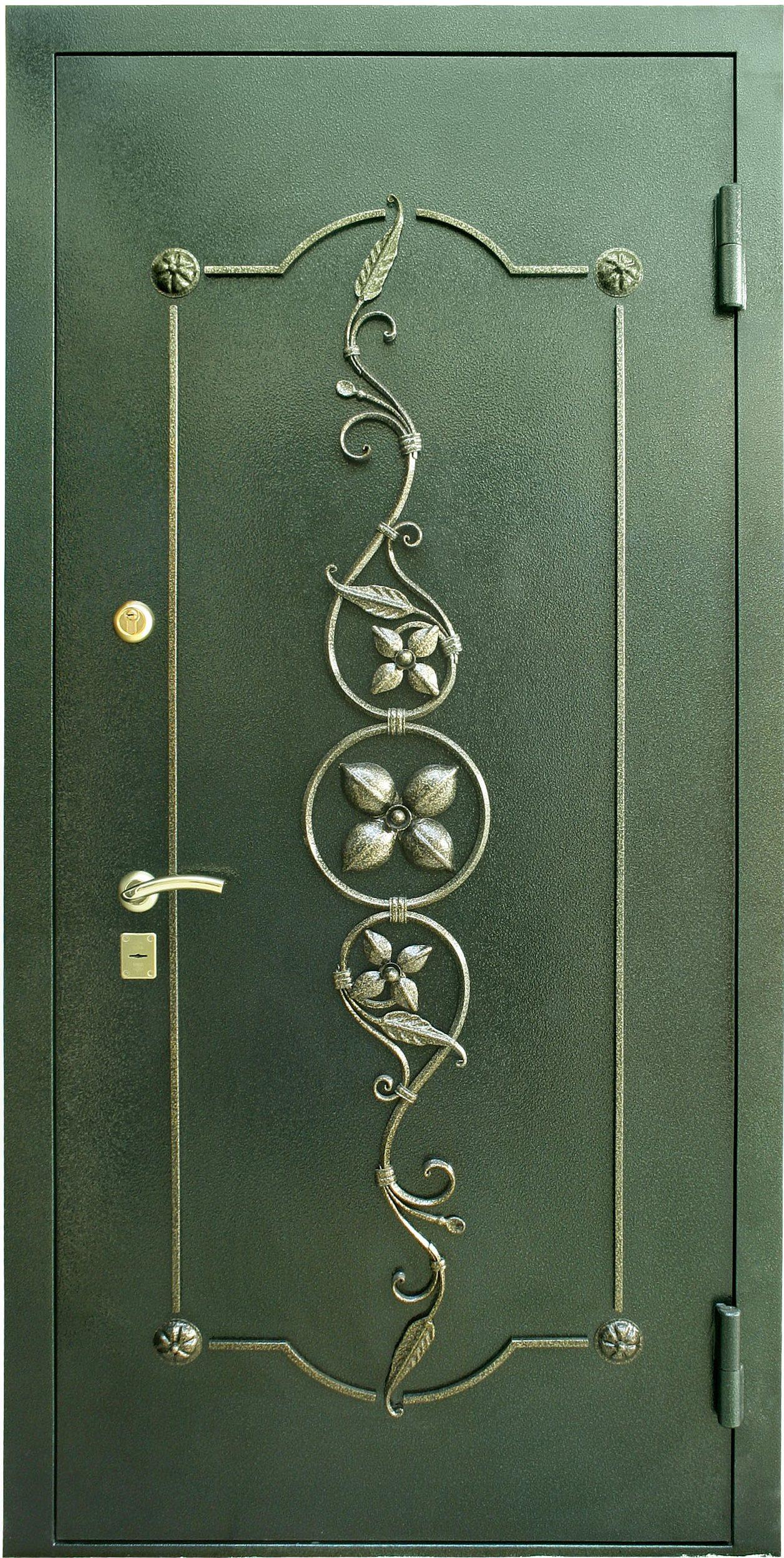 стальные двери с кованым узором